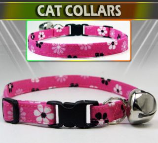 Black White Daisies Safety Breakaway Cat Collar w Larger Bell