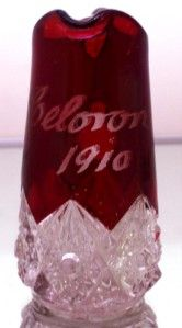 RARE Antique Bohemian Ruby Crystal Cut Etched Glass Pitcher Celeron NY