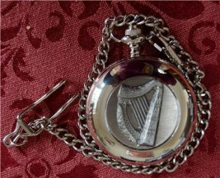 Irish Celtic Harp Pewter Pocket Watch Crafted in Ireland