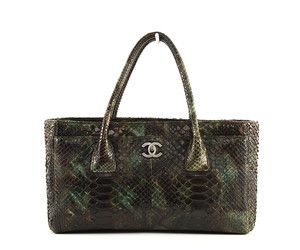 Chanel Green / Brown Python Cerf Satchel Tote Bag