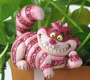 Flower Pot Hanger Figurine Cheshire Cat Garden Plant Decor