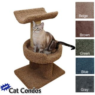 New Cat Condos Windows Perch Scratching Posts House Bed BEIGE