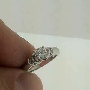 Round Diamond Engagement Ring 14KW Gold E VVS2 Certified AGI Natural