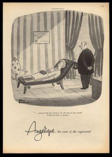 1955 Charles Addams Psychiatrist Cartoon Angelique Perfume Vintage