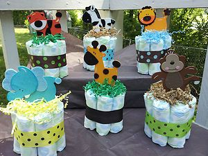 Jungle Safari Theme Mini Diaper Cakes Baby Shower Centerpiece