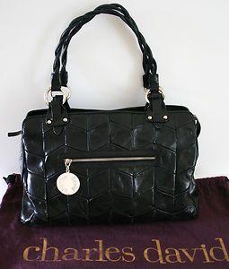 CHARLES DAVID Black Chevron Stitched Leather Bag Handbag Purse in Dust