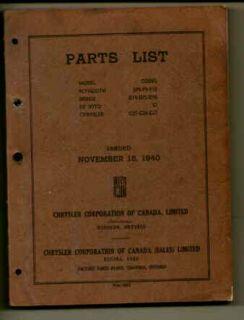Chrysler Plymouth Dodge de Soto Parts List 1940 Auto
