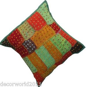 INDIAN STITCH CHAIR COUCH BED DECORATIVE THROW CUSHION COVER FLORAL 16