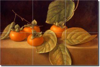 Poole Kitchen Persimmons Fruit Art Ceramic Tile Mural