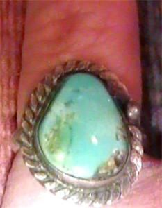 Vintage Old Pawn Zuni Large Cerrillos Turquoise Stone Ring 5 75 Native