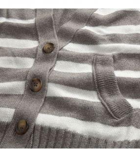 American Eagle AE Womens Stripe Boyfriend Cardigan Sweater Gray