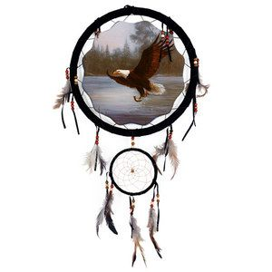 Eagle Dream Catcher 13 inch with Beads and Feathers