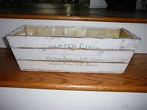 COUNTRY WHITE DISTRESSED WOOD FLOWER PLANTER BOX WINDOW BOX