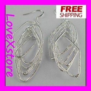 Silver Plated Snake Chain Earring Dangle Earrings  e