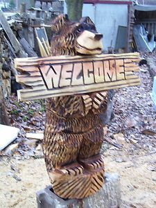 Chainsaw carving 32 BLACK BEAR with WELCOME sign forest rustic