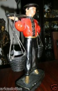 oriental man with hat and hanging buckets figurine