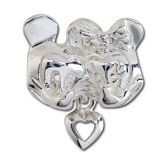 New Sterling Silver Minnie and Mickey Mouse Heart Charm