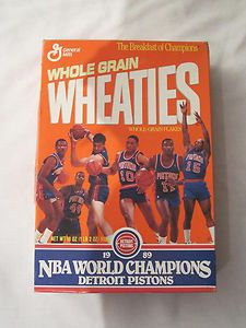 DETROIT PISTONS Basketball NBA World Champions Wheaties Cereal Box