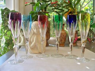 Faberge Colored Crystal Champagne Flutes in original presentation