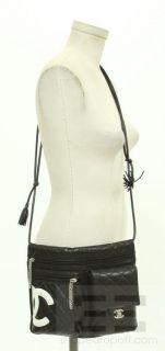 Chanel Black White Leather Cambon Waist Handbag