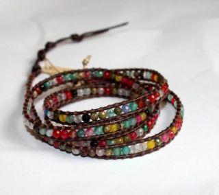nwt chan luu multi stone on brown leather wrap bracelet