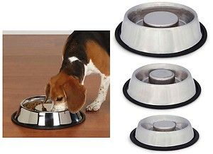 Steel Bowl Slow Feed Stop Brake Dog Pet Eating Too Fast New