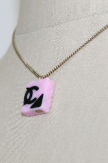Authentic Chanel 05 Pink Black CC Logo Cambon Quilted Charm Necklace w