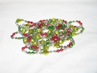 Vintage Christmas Mercury Glass Bead Garland Fancy Faceted Shapes 104