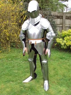 Hade Made 13th Century English Suit Of Armour & Stand Full Size Fully
