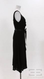 Charles Chang Lima Black Silk Belted Sleeveless Dress Size 8