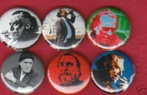 Charles Bukowski Set of 6 Buttons Pins Badges