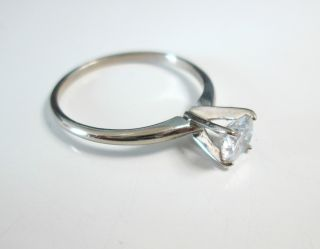 Certified White E color 1/2ct Diamond and 14k White Gold Ring