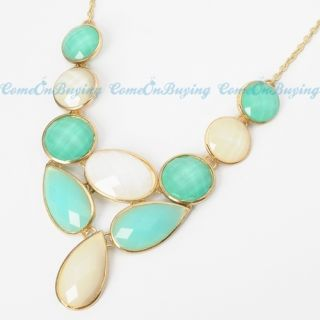 Fashion Golden Chain Water Drop Oval White & Green Resin Beads Pendant