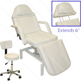 White Hydraulic Massage Table Bed Chair Skin Care Beauty Spa Salon