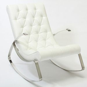 Modern Design White Leather Rocking Chaise Lounge Chair