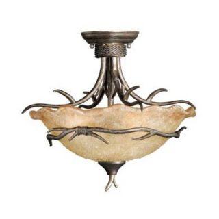 Rustic Vine Semi Flush Ceiling Lighting Fixture OR Pendant, Bronze