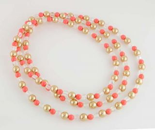 44 Czech Champagne Glass Faux Pearl & Coral Glass Bead Necklace
