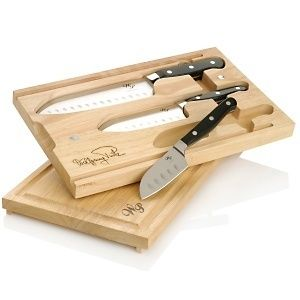 Puck 5 Piece Santoku Chefs Knife Set with case and cutting board