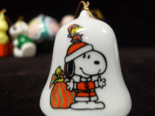 Vintage Peanuts Charlie Brown Snoopy Ceramic Christmas Ornaments UFS