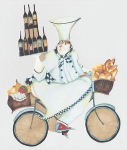Chef Wine on Bike Kitchen Wallpaper Border Cut Outs