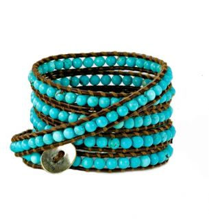 chan luu turquoise beads brown leather wrap bracelet