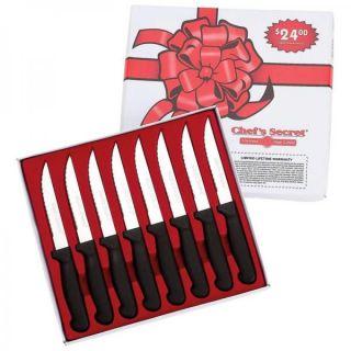 Chefs Secret by Maxam 8 PC Steak Knife Set Sharp Surgical Stainless