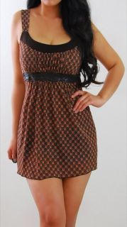 Charlotte Russe Brown Rust Orange Lace Empire Babydoll Tank Shirt