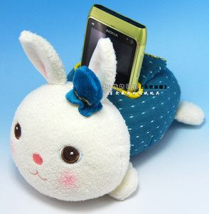 New Green Rabbit Plush Cell Phone iPhone 4 4s Cover Remote Control