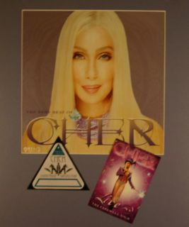 CHER 2003 LIVING PROOF / FAREWELL TOUR MATTED POSTER, PASS & PROMO