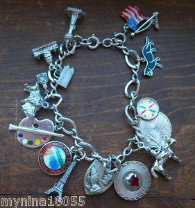 Vintage Charm Bracelet 14 Charms Sterling Wells Souvenier Cat