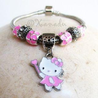 Hello Kitty European Charm Bracelet   Kid Child Small Sizes Available