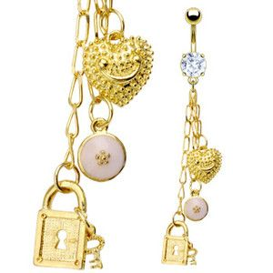 Belly Navel Ring NEW Clear Crystal Cz & Lock & Key Charm Gold Plated