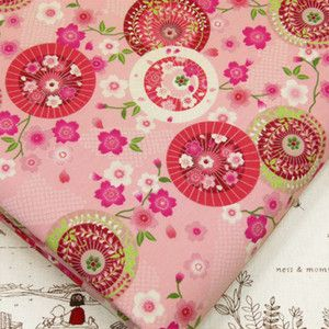 JAPANESE FAN SAKURA CHERRY BLOSSOM ASIAN FLOWER 100 COTTON FABRIC J124