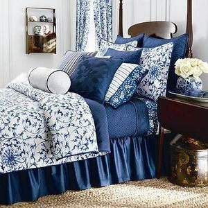 Ralph Lauren Chaps Camellia Queen Comforter Set Blue White Floral 4